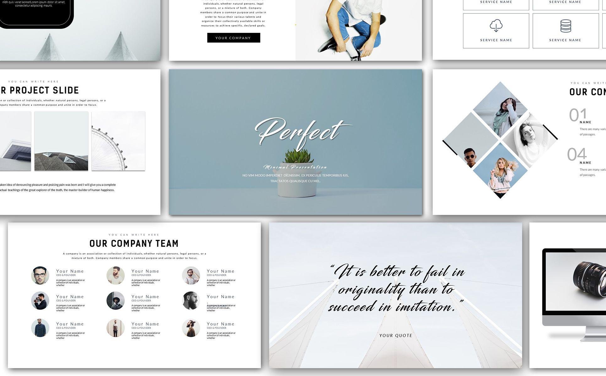 Perfect Minimal Presentation Powerpoint Template 67868