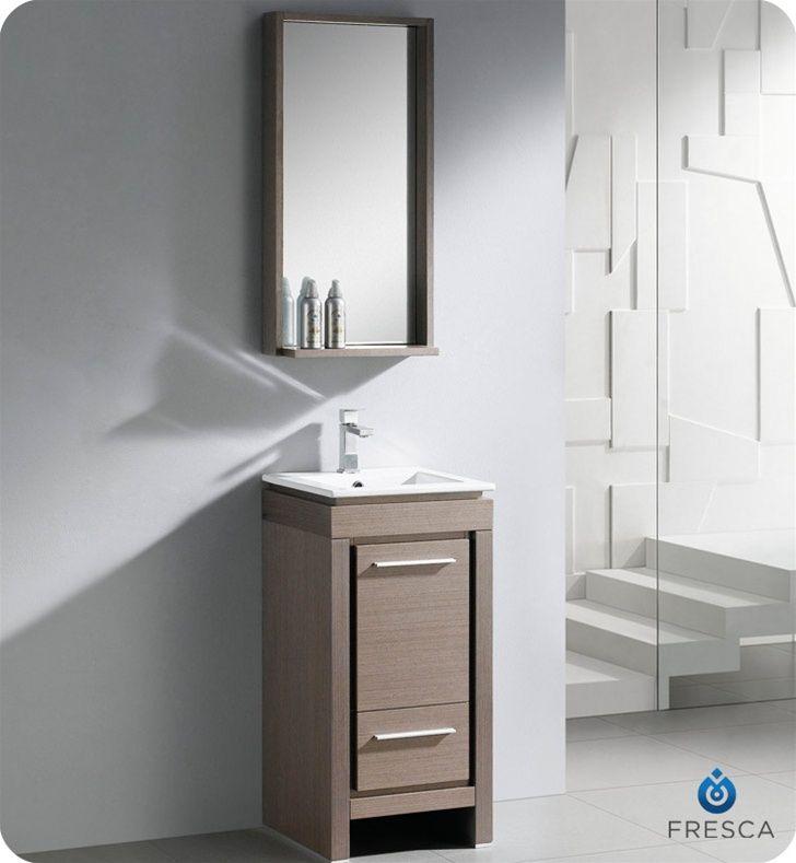 16 Inch Bathroom Vanity Grey Oak Finish