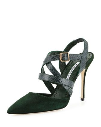 Pitina Strappy Watersnake Sandal, Green by Manolo Blahnik at Neiman Marcus.