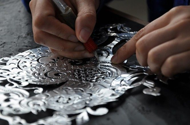 aluminum foil wall art hand carved aluminum foil craft