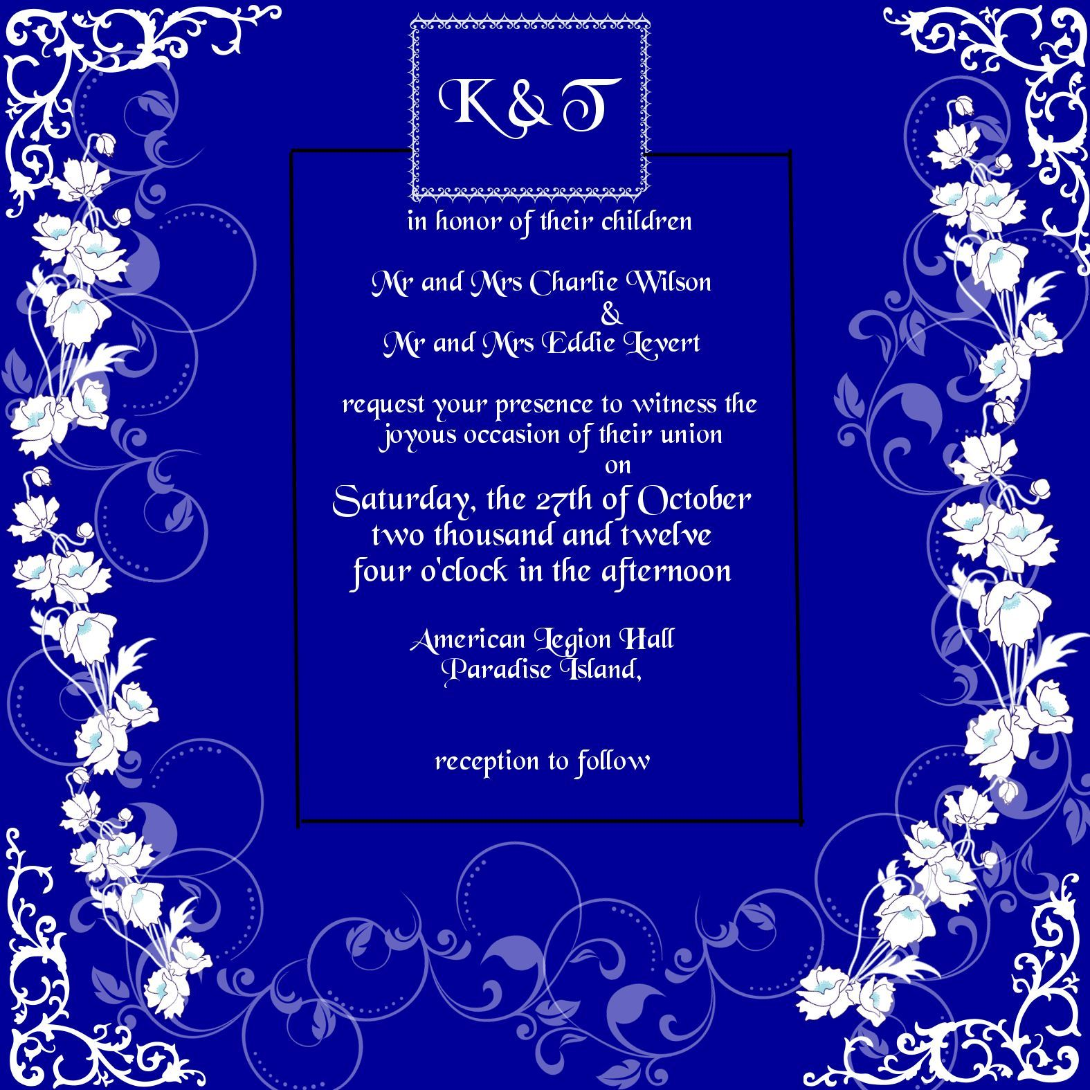 Custom Invitations available in any color  size 5.25 x 5.25 single card