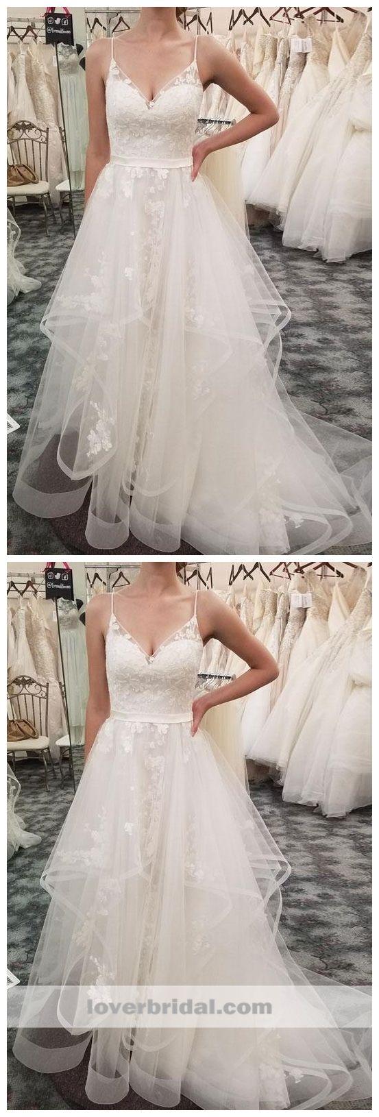 Lace wedding dress tulle november 2018 Spaghetti Straps Lace A line Cheap Wedding Dresses Online Cheap