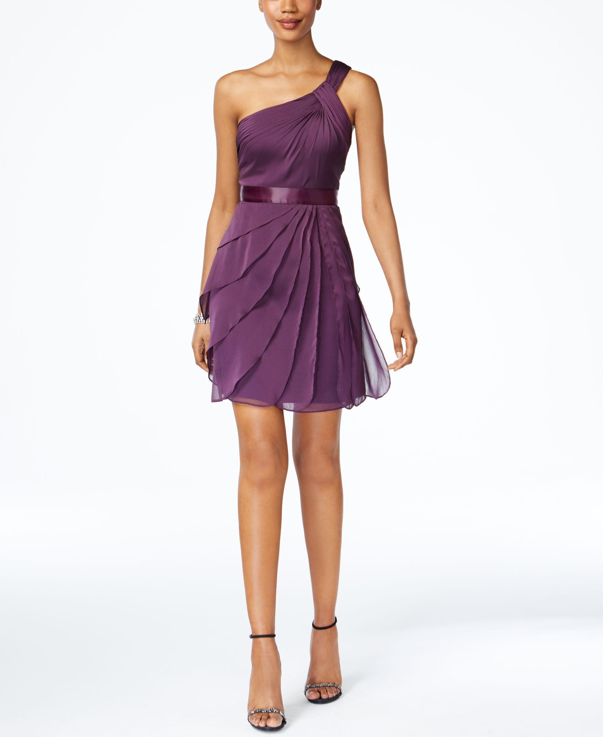 One-Shoulder Tiered Chiffon Dress
