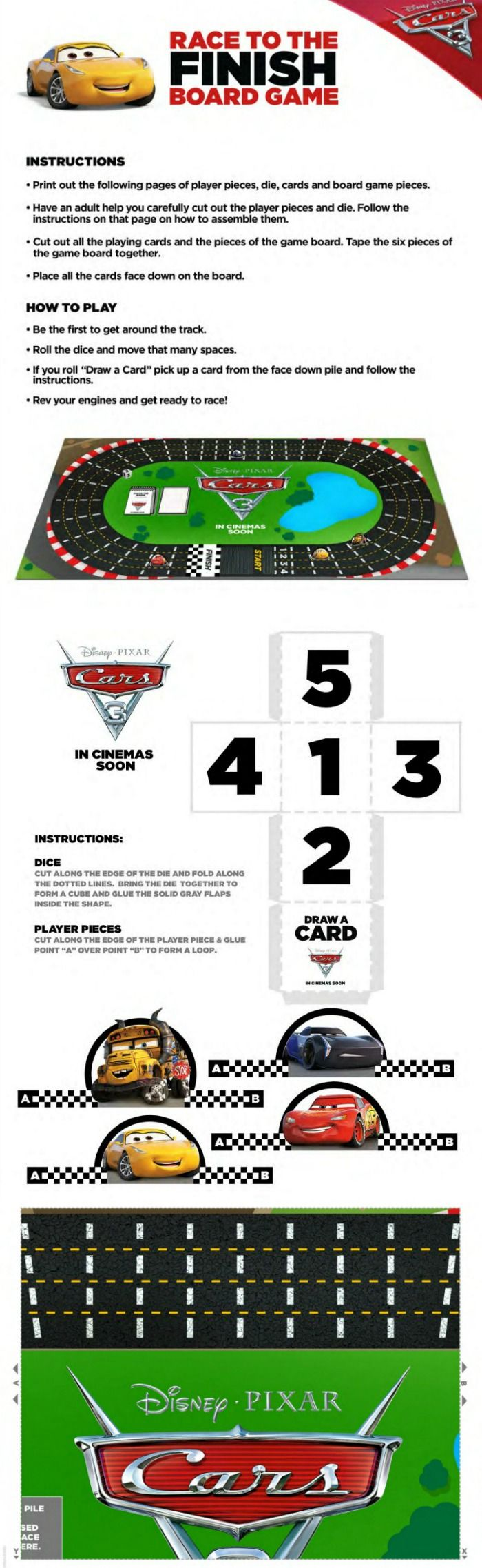 Free Disney Cars 3 Board Game to print and play | Printable Coloring ...