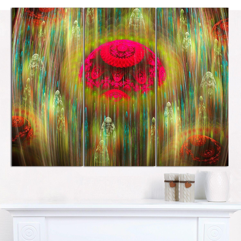 "Designart 'Yellow World of Infinite Universe' Abstract Canvas Art Print - 3 Panels 36""x28"""