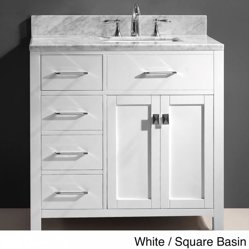 36 bathroom vanity with sink on right