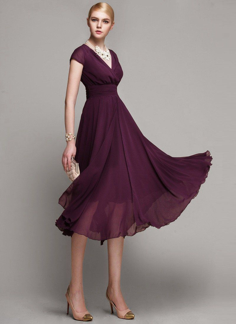 56c79e35855 V Neck Purple Midi Dress with Layered Skirt and Ruched Waist Yoke – RobePlus