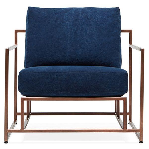 Stephen Kenn Inheritance Armchair  Antique Copper/Indigo Canvas ($2,800) ❤  Liked On