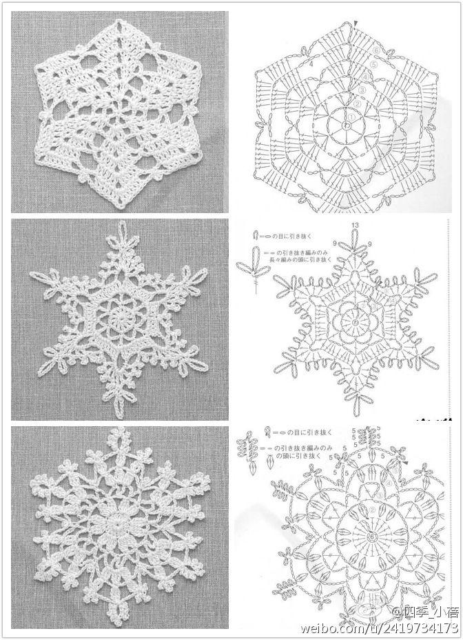 free crochet snowflake diagrams | cuadrados crochet | Pinterest ...