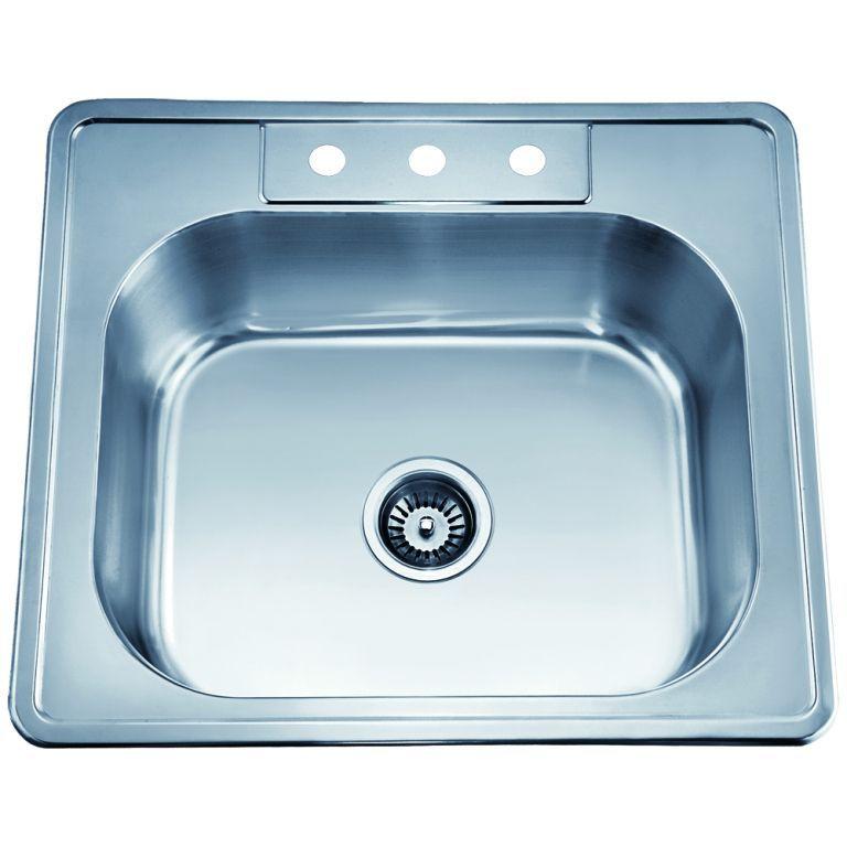 Dawn Top Mount Single Bowl Sink (Minimum Cabinet Size 27), Silver