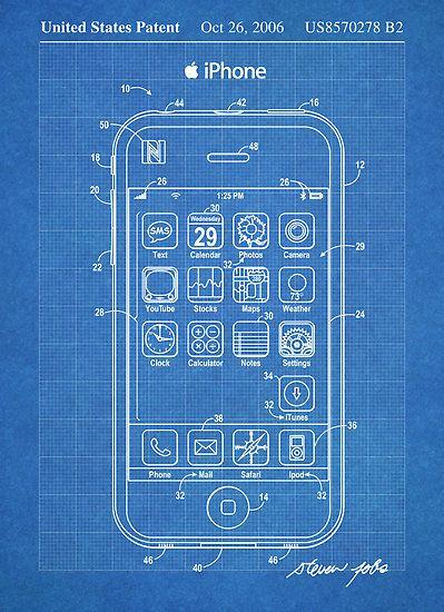 Apple iPhone US Patent Art Steve Jobs blueprint Art Pinterest - new blueprint program online