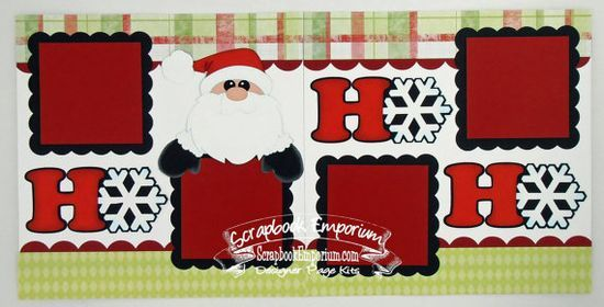 christmas santa ho ho ho boy girl baby 2 page scrapbook layout page kit 015 on - Santa Hohoho 2