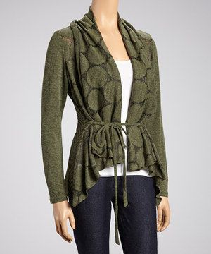 Layer up an elegant look with this cozy cardigan. Its sidetail silhouette adds a posh touch to an open, relaxed fit, while a subtle dot pattern hints at mod style.