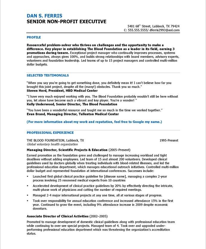 Program Director-Page1 Non Profit Resume Samples Pinterest - sample resume for hr manager