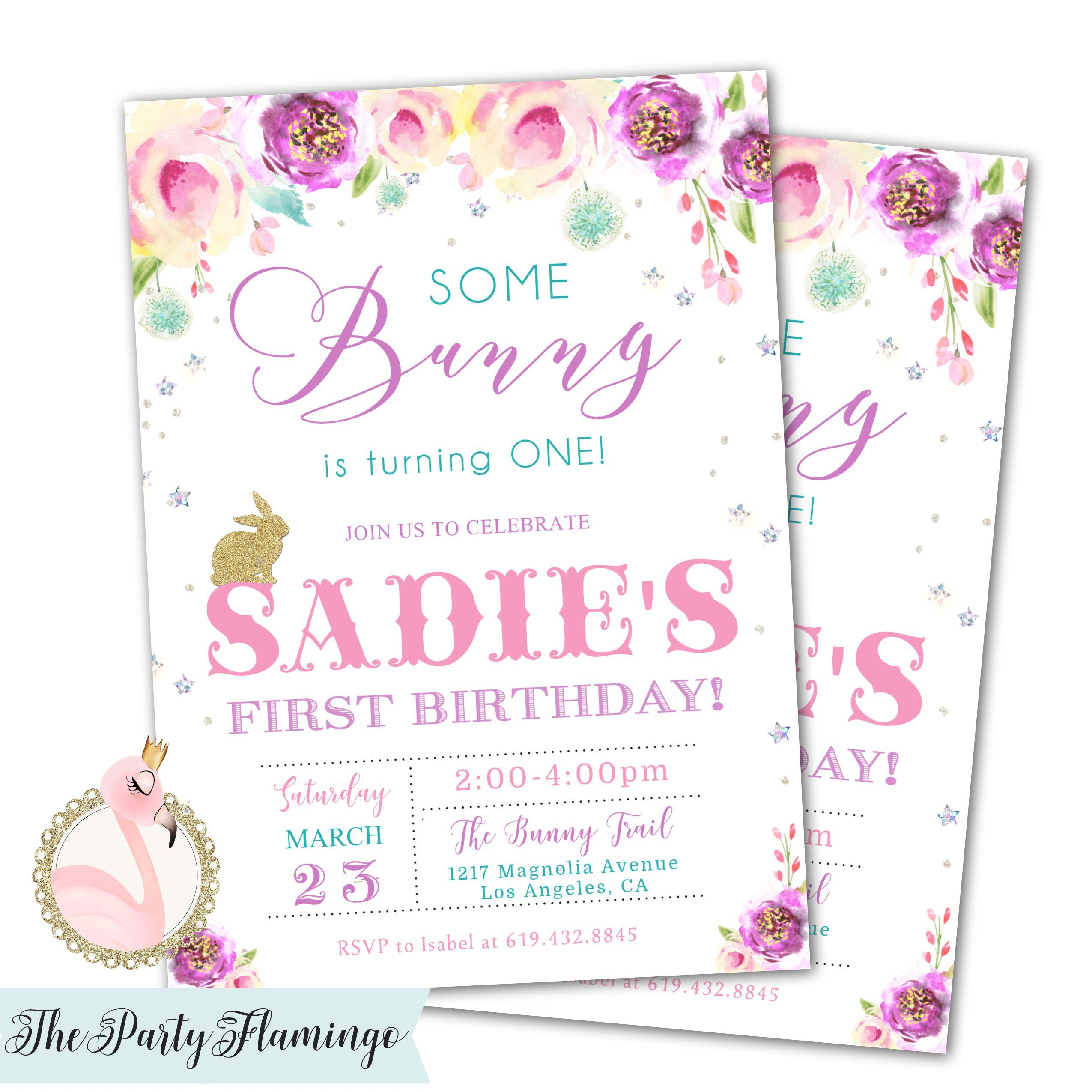 Bunny Birthday Invitations, Some Bunny is turning ONE (or any age ...