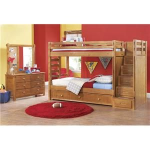 Canyon Twin Sized Bunk Bed With Step Storage Trundle Sold Seperately
