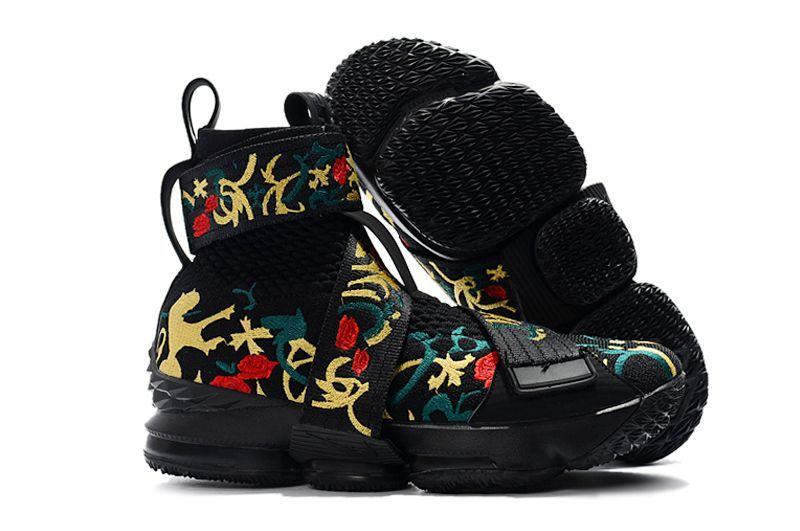 "7954e3d2eb32 KITH x Nike LeBron 15 Lifestyle ""King s Crown"" Black Gold Floral Mens  Basketball Shoes  mensbasketball"