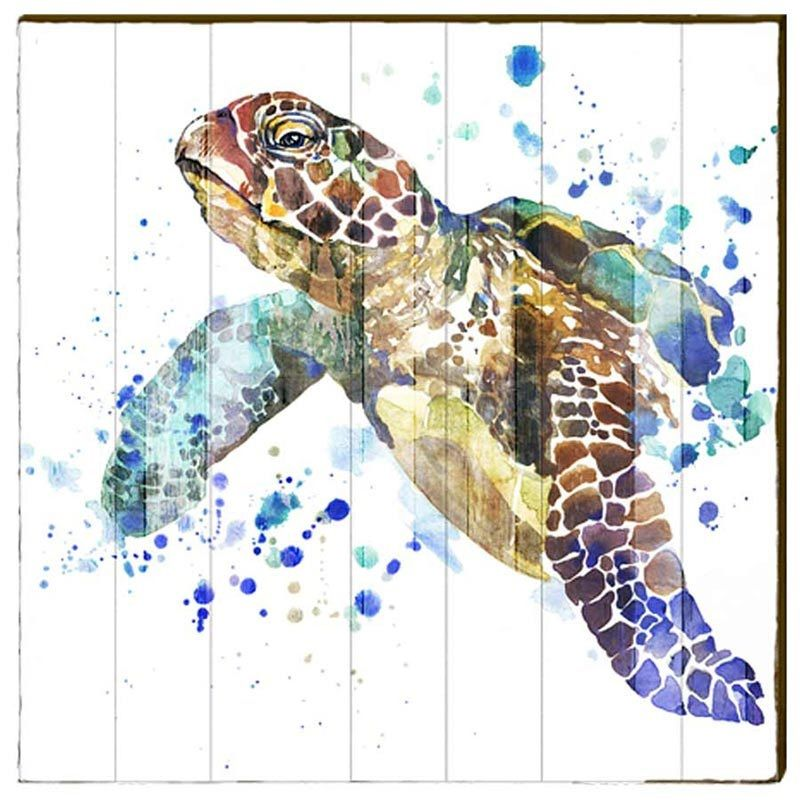 Sea Turtle Watercolor Wood Art Panel Large Wall Decor Art