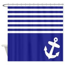 Navy blue stripes anchor Shower Curtain for