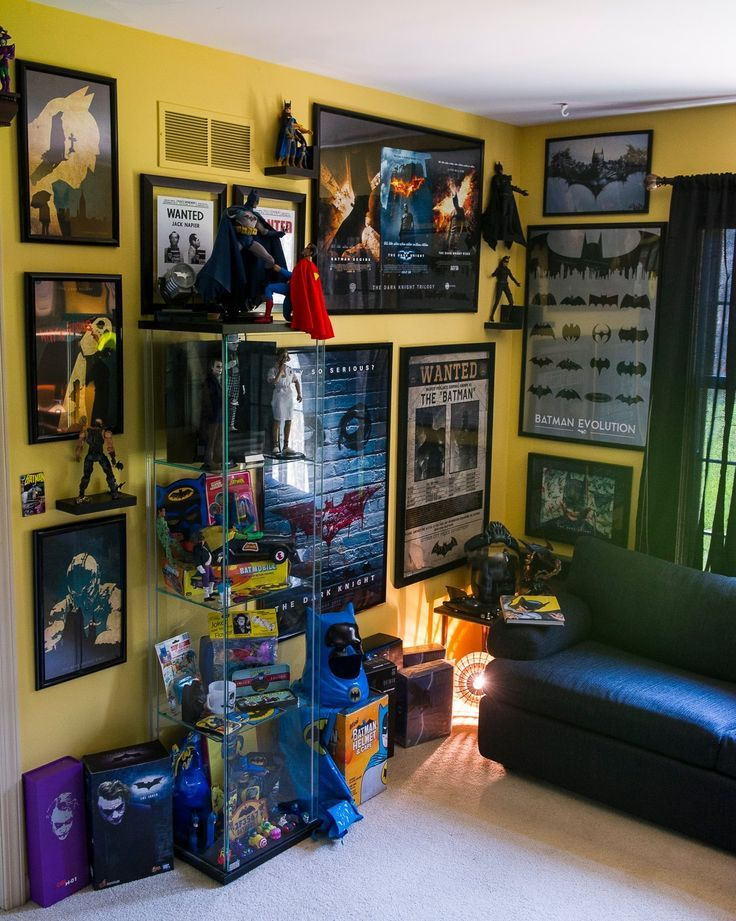 Awesome Batman Action Figure And Poster Display Game Room Decor Batman Room Comic Book Rooms