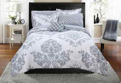 Grey White Twin Xl Bed In A Bag Comforter Poly Bedding Set W Sheets 6 Piece Farmhouse Bedding Sets Damask Bedding Bedding Sets Grey