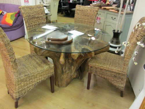 Teak root wood saturday kitchen style dining table and
