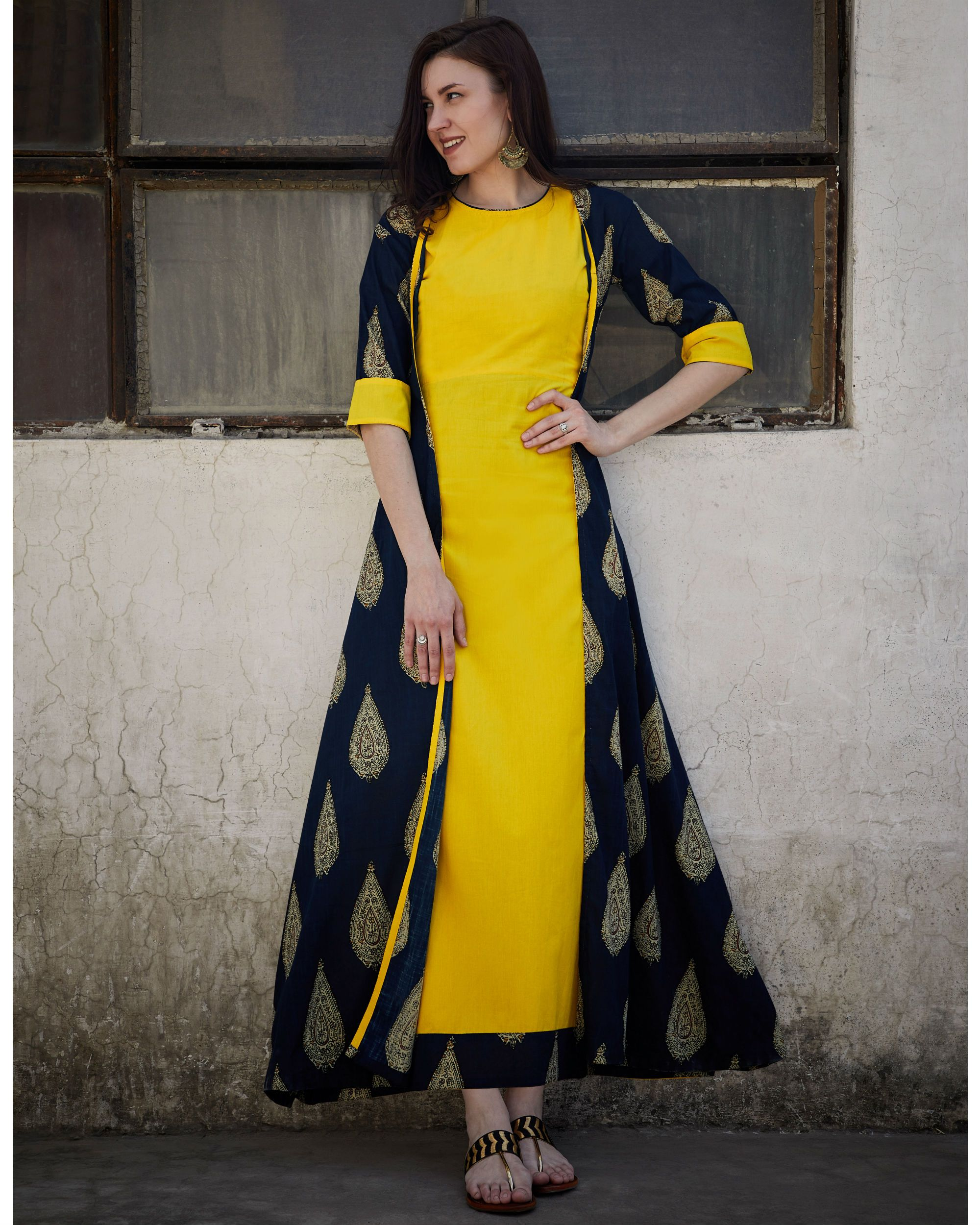 Pineapple and navy cape dress cape navy and kurti