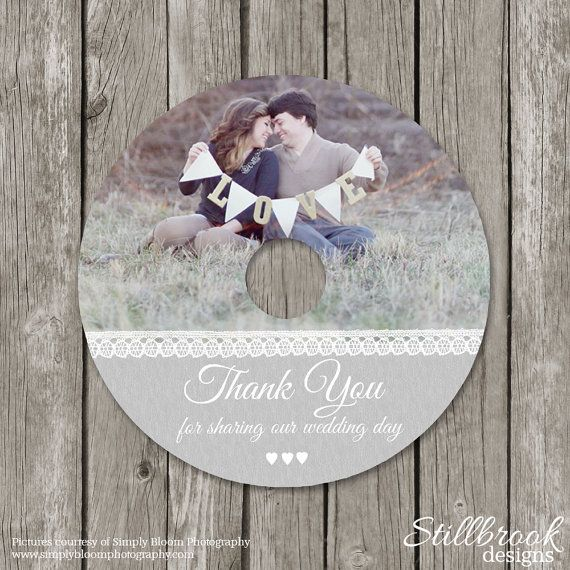 Wedding CD/DVD Label Template - Photography Photo Thank You DVD for