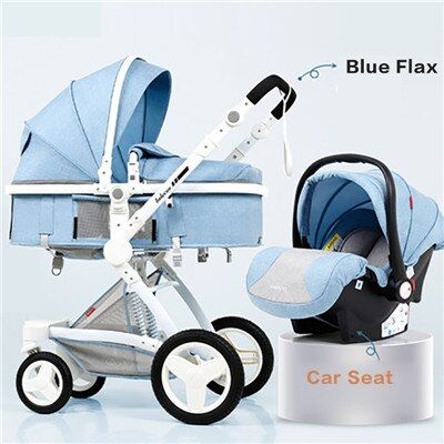 Baby stroller high landscape baby stroller basket can sit lying folding 3 in 1 leather baby stroller with car seat