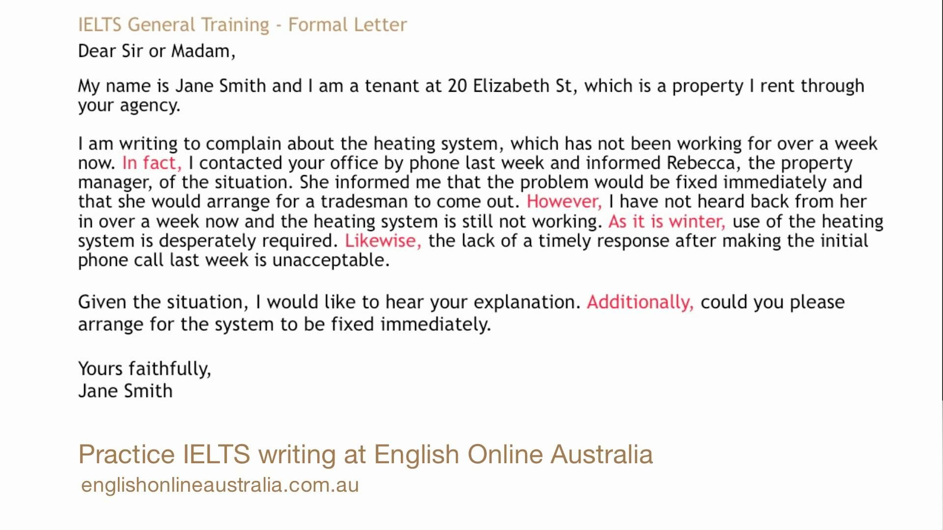 IELTS Writing Lesson 1 General Task 1 Formal Letter