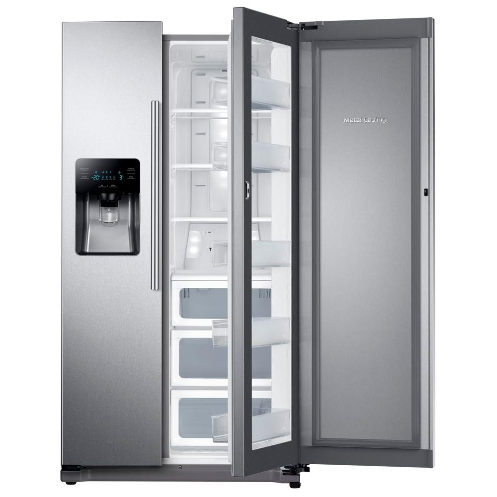 Samsung 24 7 Cu Ft Side By Side Refrigerator In Stainless Steel With Food Showcase Design Rh25h5611sr The Home Depot Side By Side Refrigerator Showcase Design Single Doors