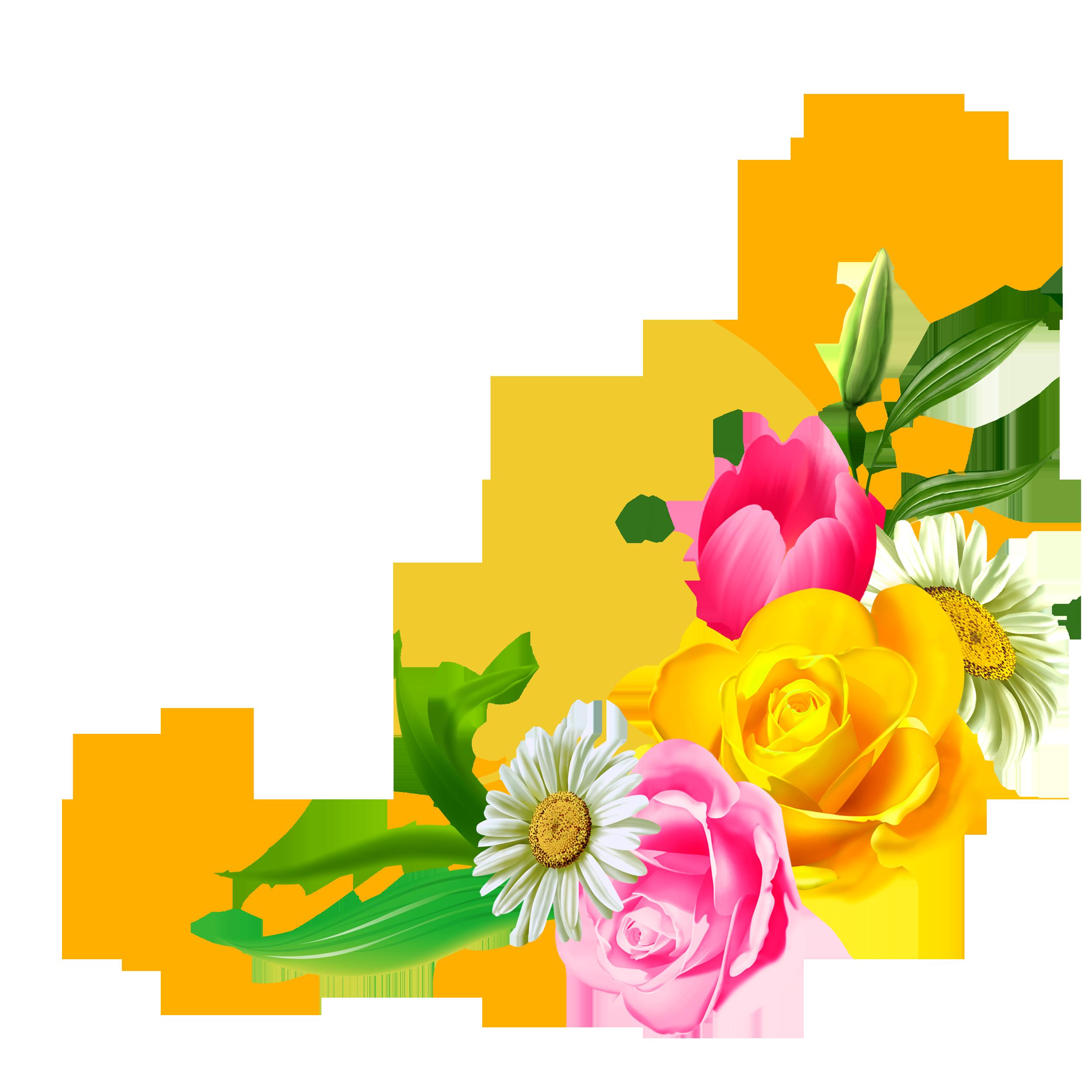 Цветы рамка на прозрачном фоне