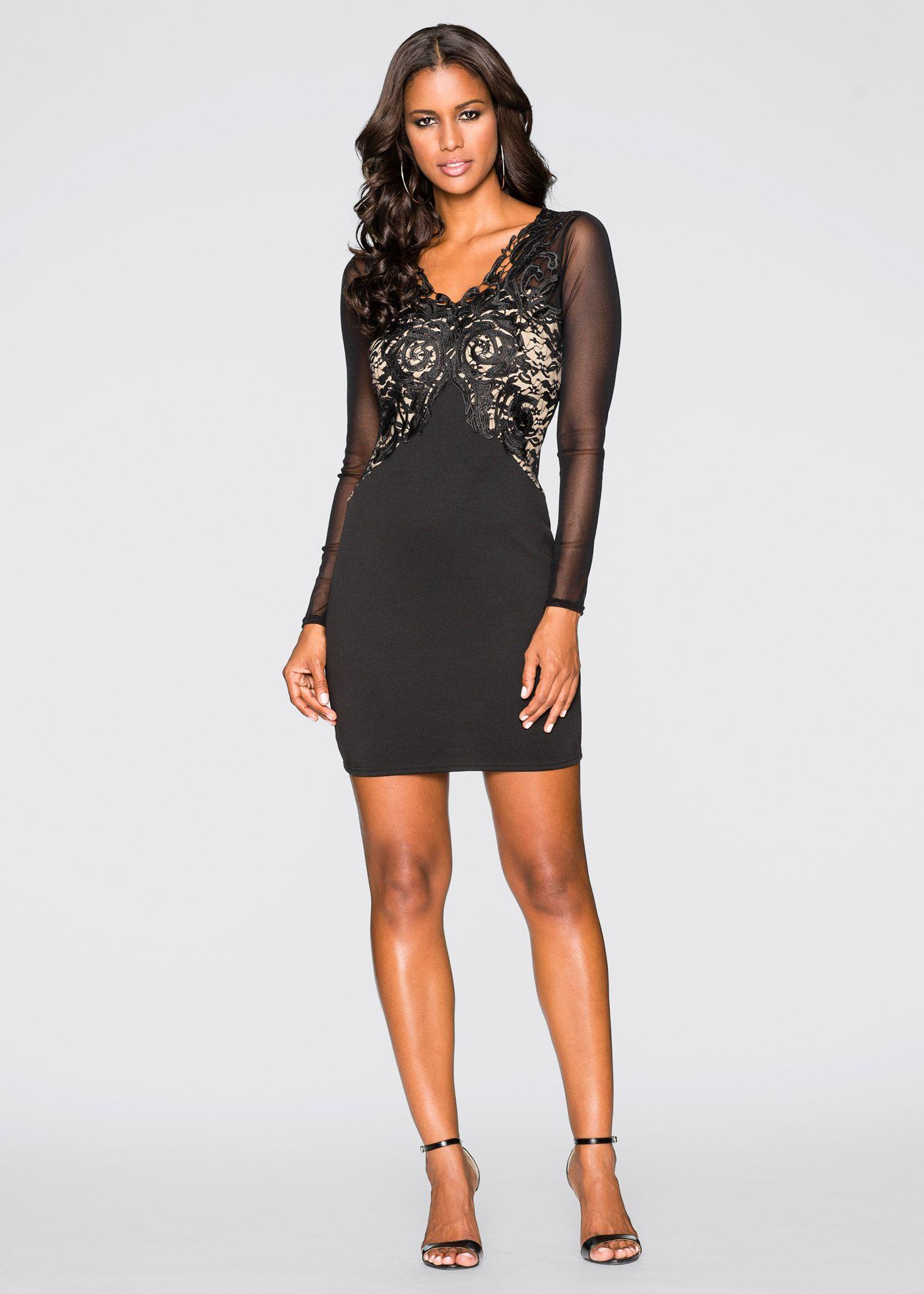 La robe avec application en dentelle, BODYFLIRT boutique, noir/crème