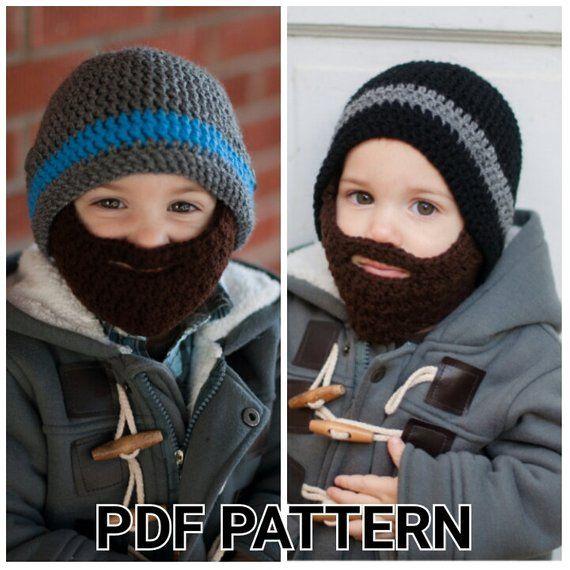 PATTERN: Crochet Beard Hat pattern with detachable beard - sizes newborn-10 years - PDF - Instant Do #crochetedbeards