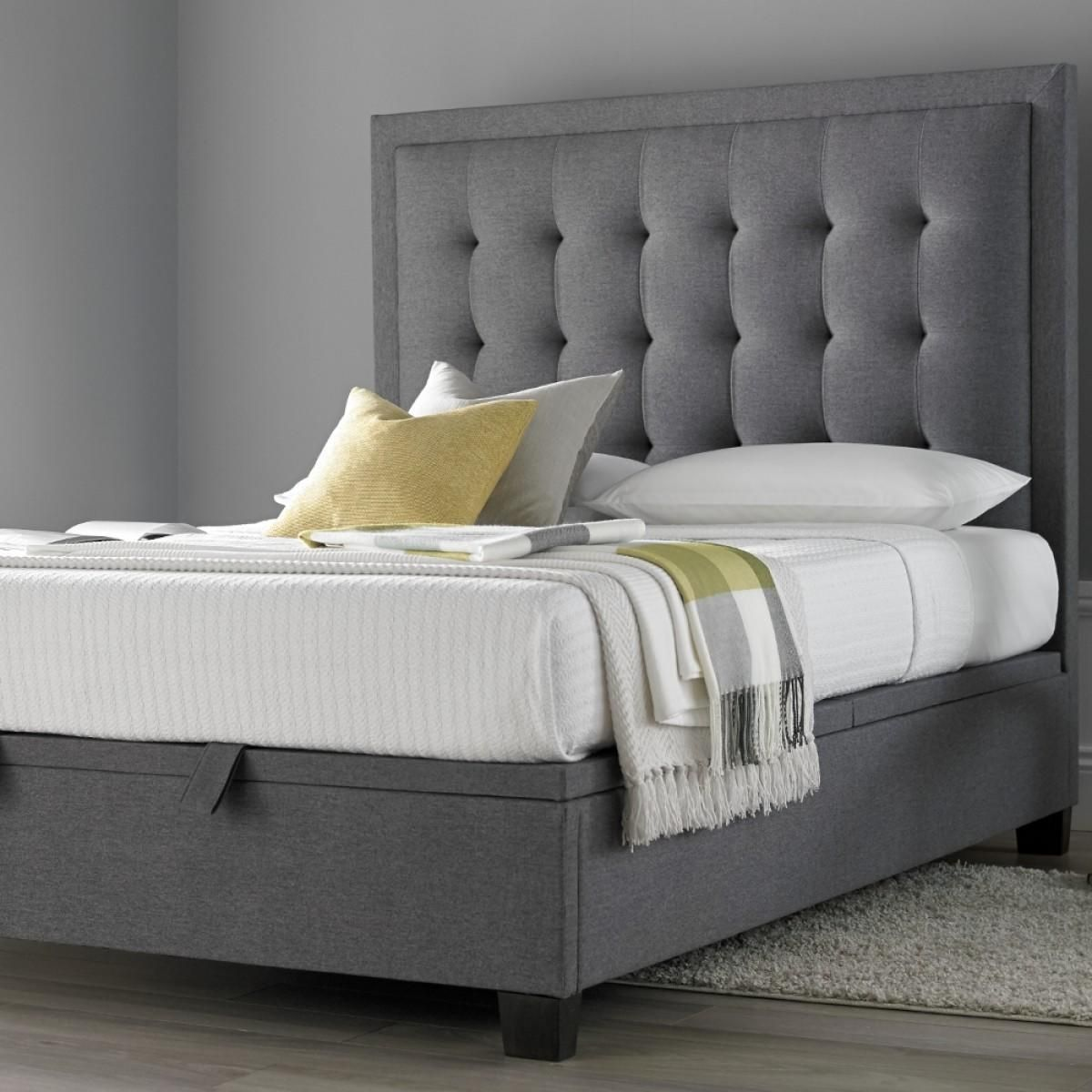Fabric Bed Frames Metro Grey Ottoman Fabric Bed In 2019 Decor Fabric Ottoman