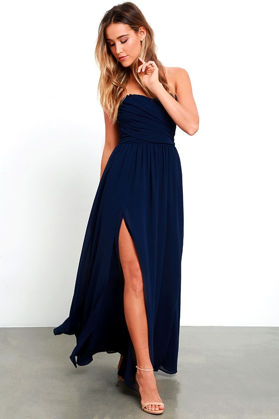 73faf773d675 You'll be admired as soon as you set foot in the party wearing the  Moonlight Serenade Navy Blue Strapless Maxi Dress! Draping woven poly  fabric adorns a ...