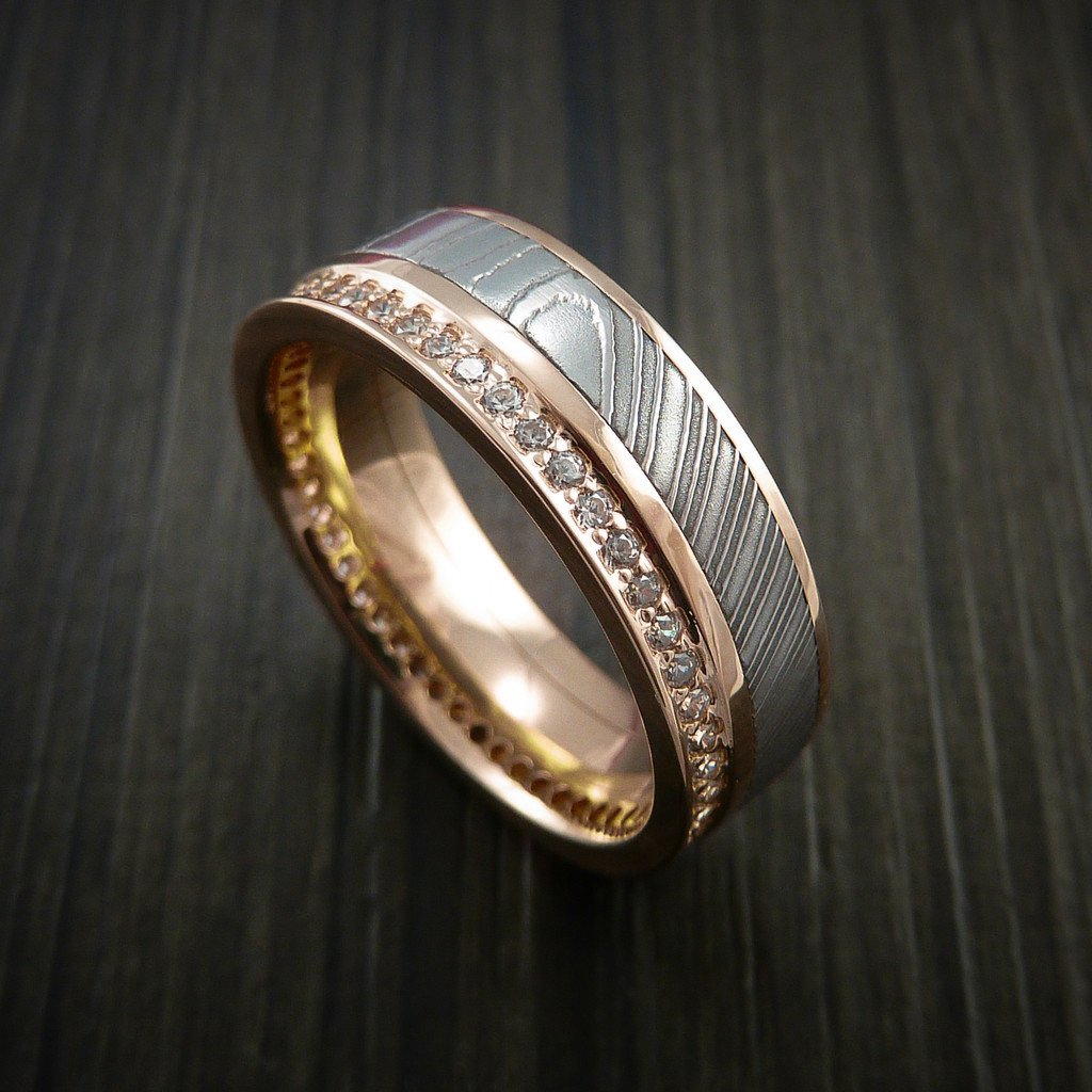 Rose Gold Eternity Band, Damascus Steel Ring with 30+ Moissanite Stones