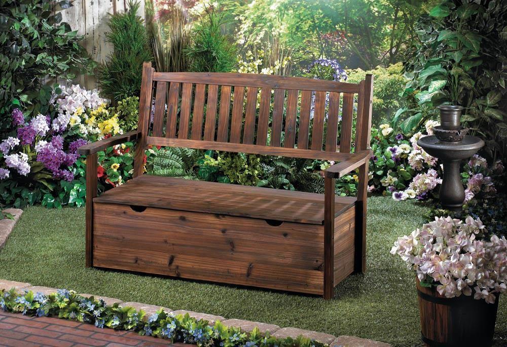 Garden grove storage bench garden storage bench wooden
