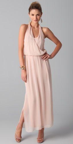 Wrap Front Halter Maxi Dress