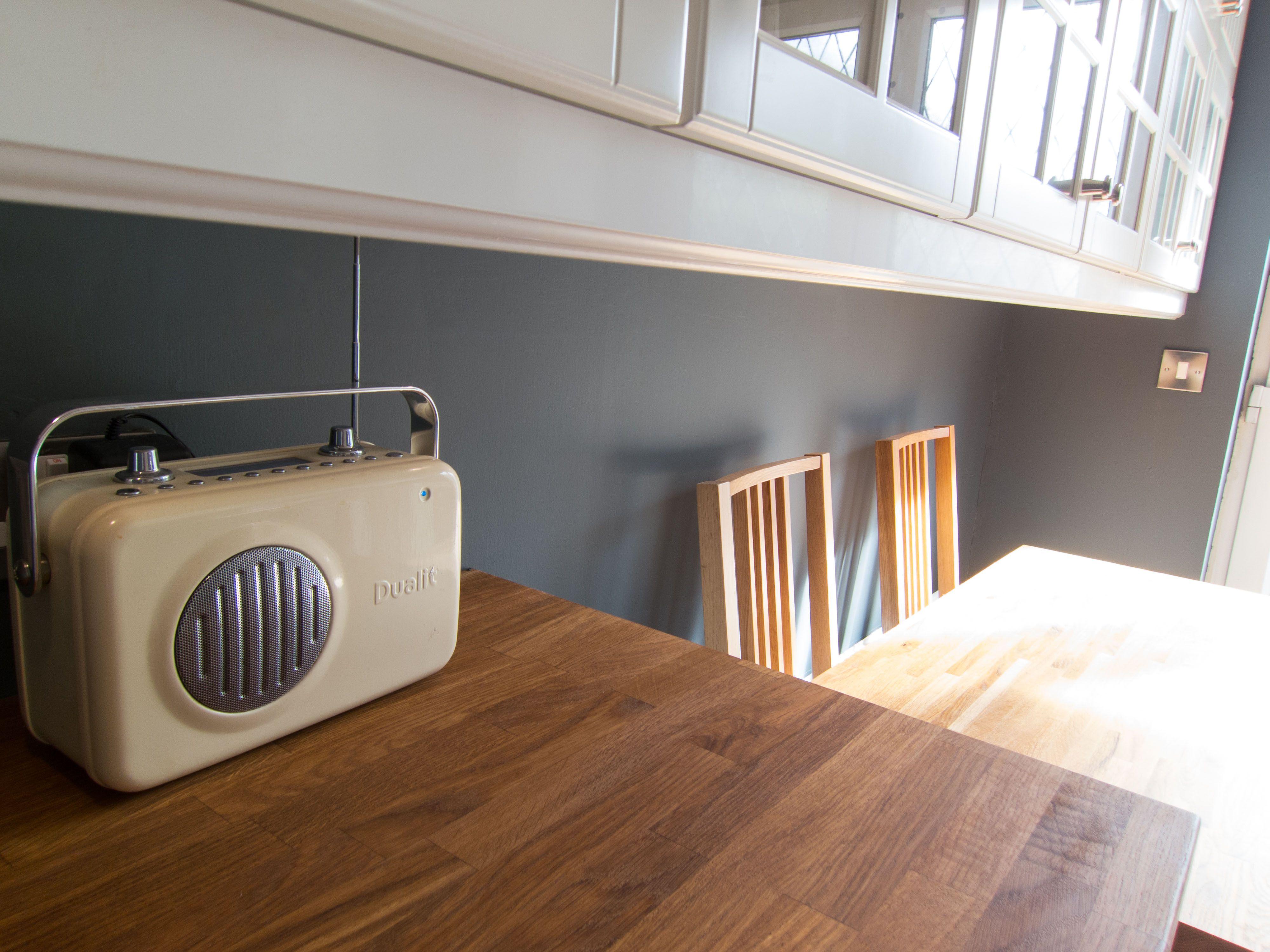 My kitchen Farrow & Ball Down Pipe no 26 walls Dualit DAB radio