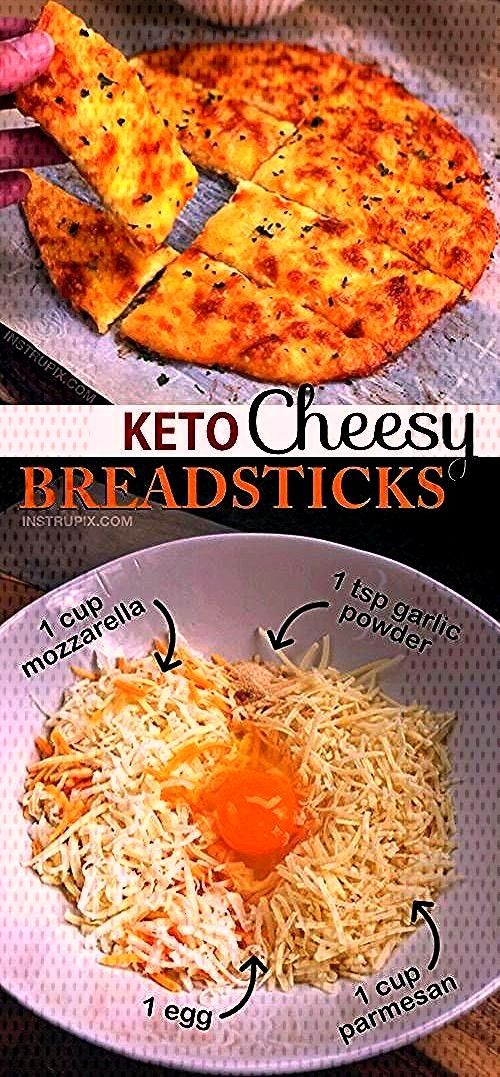 4 Ingredient KETO Cheesy Garlic Breadsticks Recipe | Looking for low carb snacks? This quick and ea