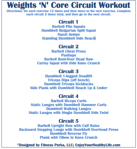 weights 'n' core circuit workout via fitnessperks