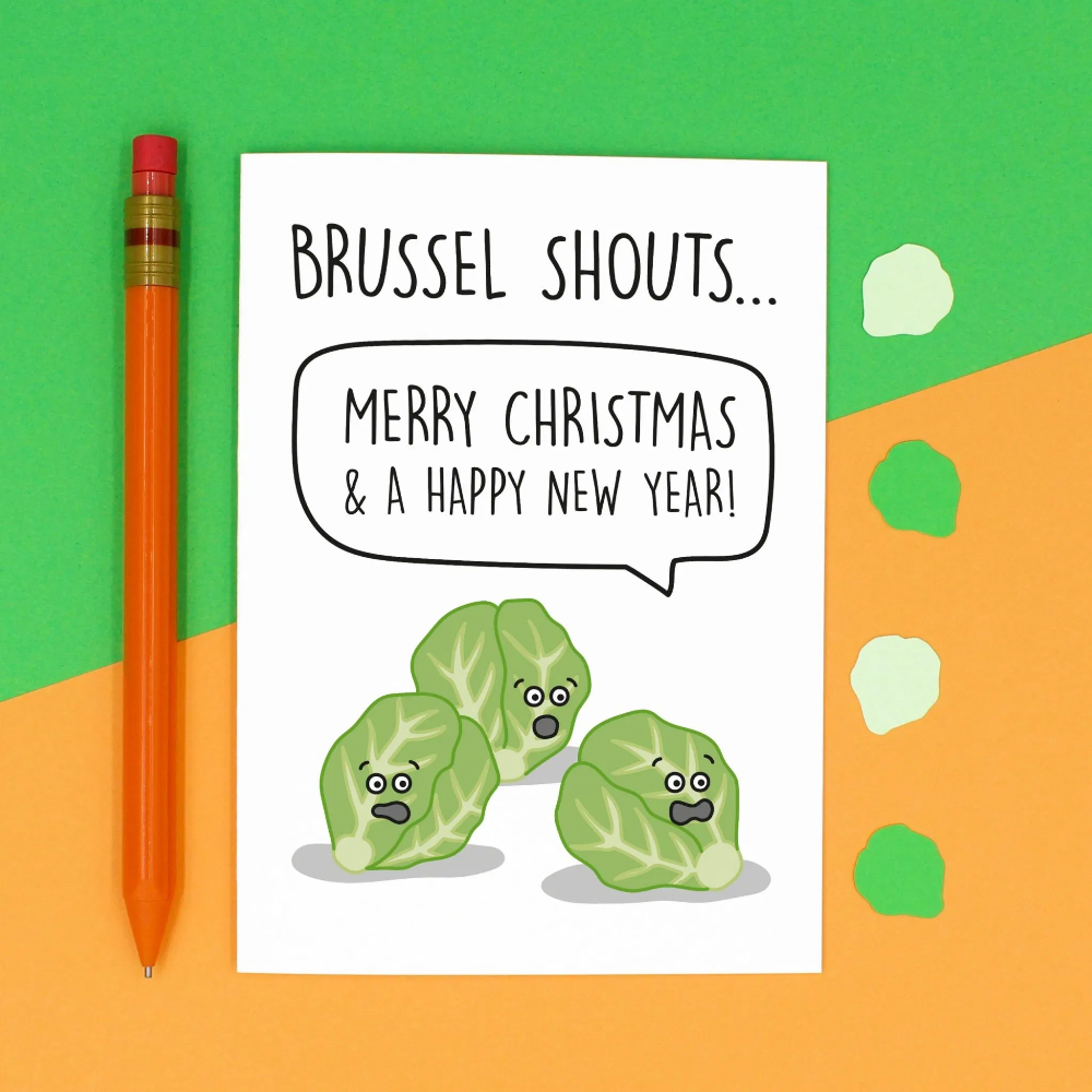 Brussel Shouts Sprouts Pun Christmas Card in 2020 Funny