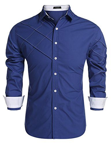 Men Shirts Long Sleeve Cotton Business Casual Shirt Men Long Sleeved,Blue,M,C