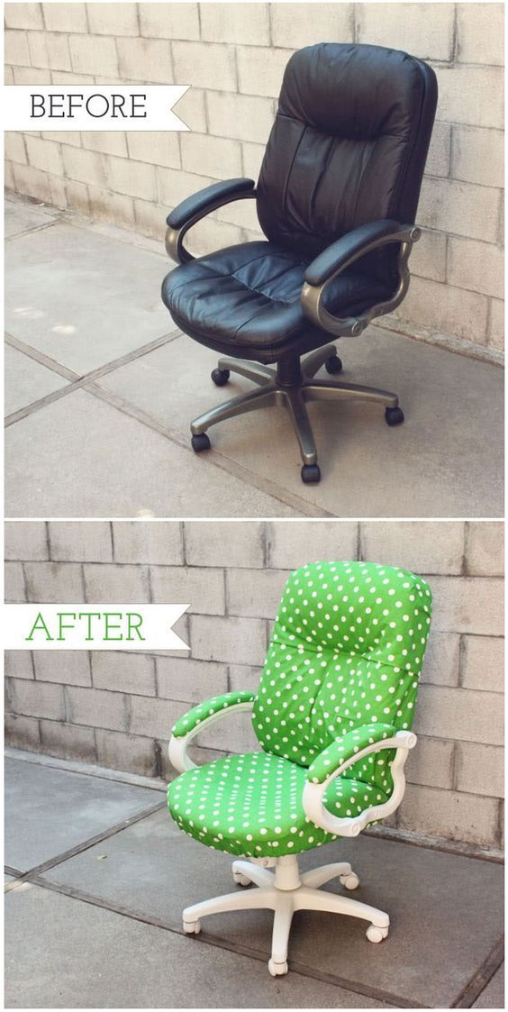 desk chair diy target kitchen chairs how to transform a boring with fabric and spray paint home tired old office tutorial diyhomea