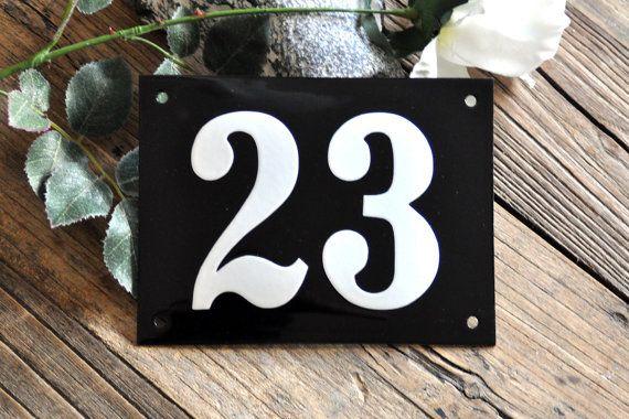 Enamel House Number 4.7 x 6.3 by enamelsign on Etsy, $69.00 #etsy #housenumber #sign