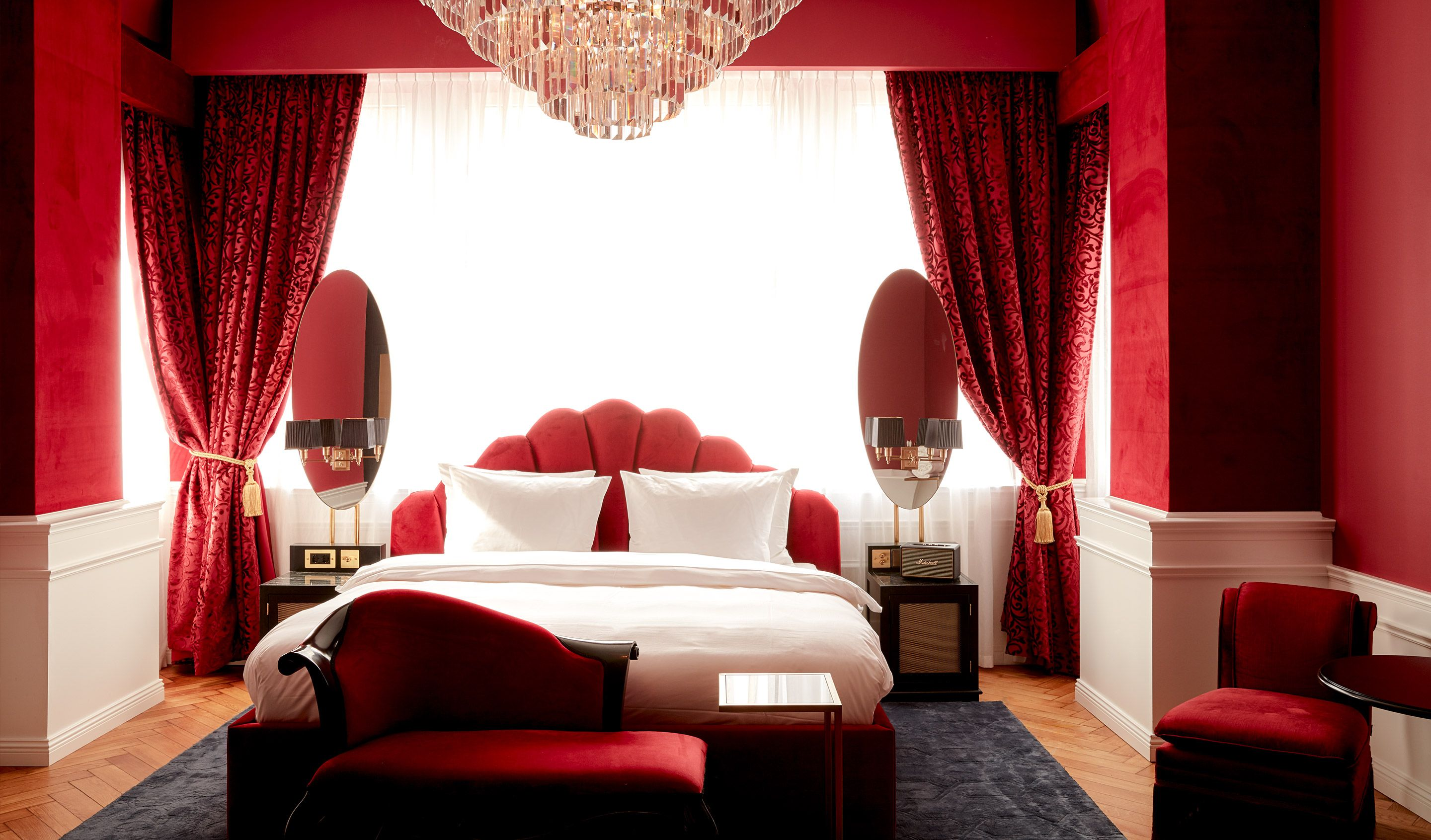 Red Burlesque Themed Bedroom Interior Provocateur Berlin With Its Prevailing Character Of Mystery And Sensuality The Berlin Hotel Bedroom Interior Hotel