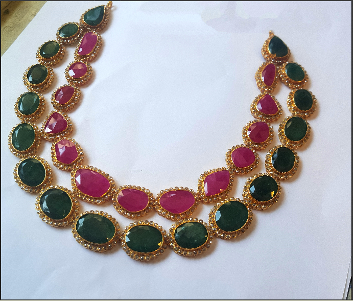 0f567145799f2 Double Layer Gold Ruby Emerald Necklace   beads jewellery   Jewelry ...