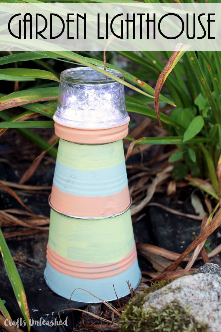 Make this garden lighthouse for your outdoor decor in just a few easy steps!