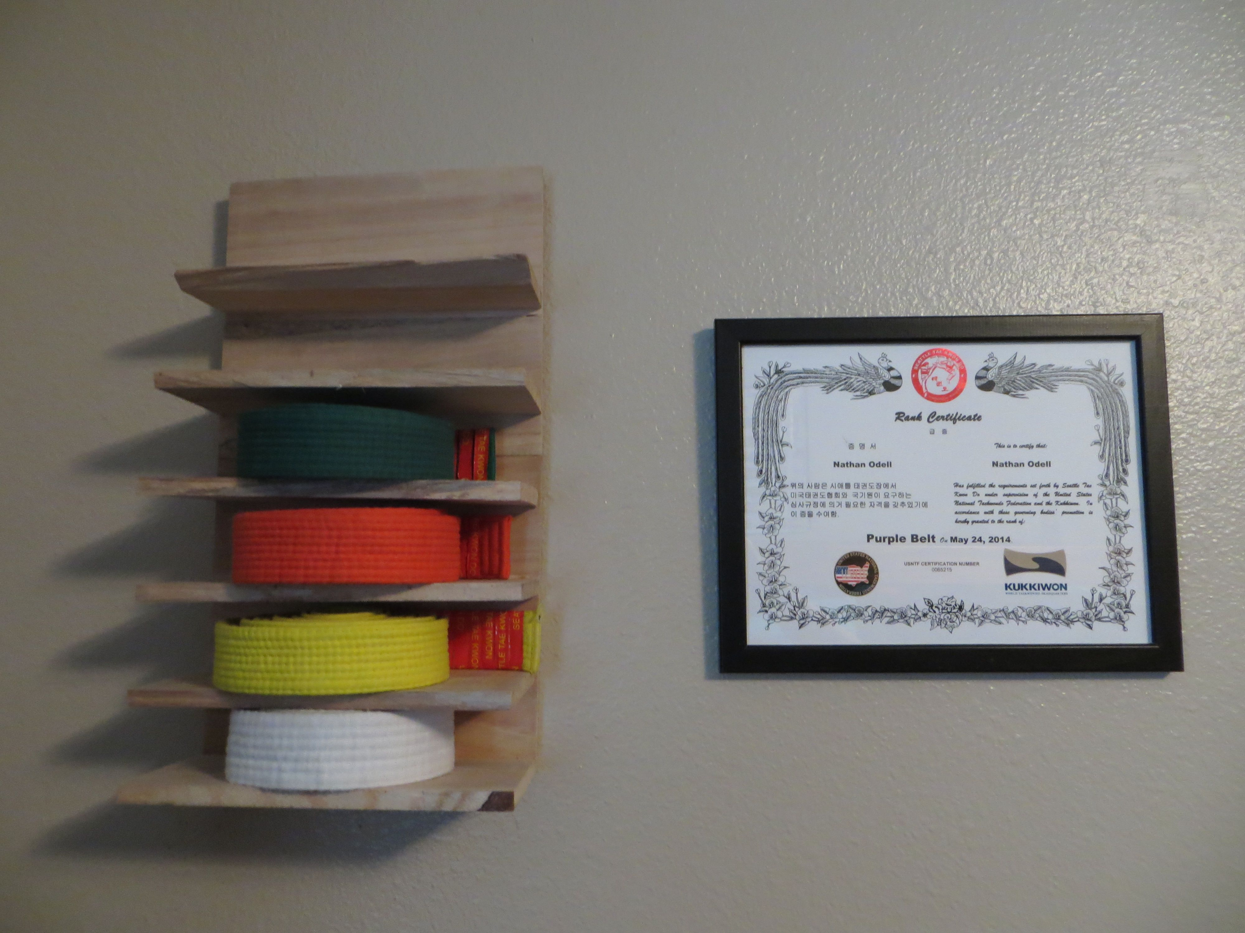 Diy Tae Kwon Do Belt Display Shelves I Got Crafty And Used Some Of My